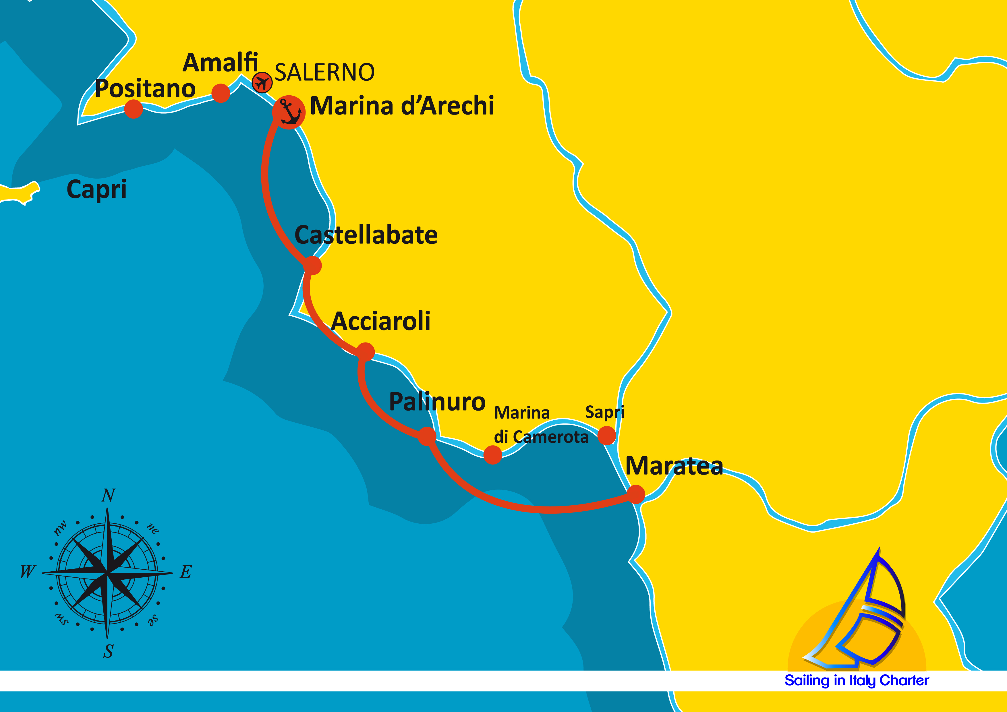 Cilento Region Italy Map.Sailing In Italy Charter Itinerario Salerno 03 7 Days